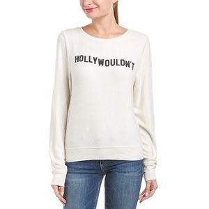 NWT Wildfox Hollywouldnt Ivory Cozy Sweater Size L